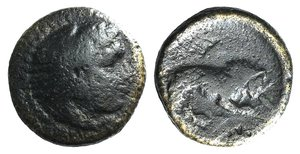 D/ Kings of Macedon, Perdikkas III (365-359 BC). Æ (15mm, 3.74g, 12h). Head of Herakles r., wearing lion skin. R/ Lion standing r., breaking javelin with its jaws. SNG ANS 114; SNG Alpha Bank 240. Fine - Good Fine