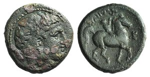 D/ Kings of Macedon, Philip II (359-336 BC). Æ Double Unit (21mm, 7.82g, 12h). Uncertain Macedonian. Diademed male head r. R/ Youth on horseback r.; E to r. SNG ANS 839; SNG Alpha Bank 427-8. Good Fine