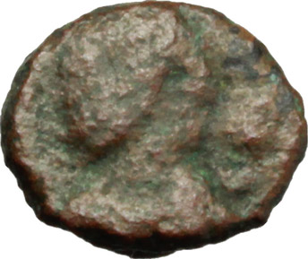 D/ Vandals. Hilderic (523-530 AD).  AE Nummus, Sardinia. Obv. Diademed, draped and cuirassed bust right. Rev. Large A within wreath. Vand. 350. AE. g. 0.65  mm. 9.00    VF.