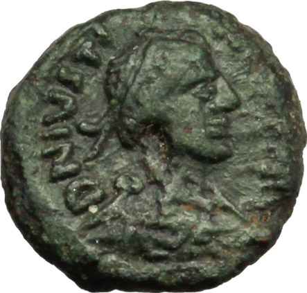 D/ Justinian I. (527-565).  AE Pentanummium, Rome mint (?). Obv. DN IVS[ ] P AV. Diademed, draped and cuirassed bust right. Rev. Large V; above, star; all within wreath. DOC 370. Sear 338. AE. g. 2.03  mm. 21.00   Green patina. VF.