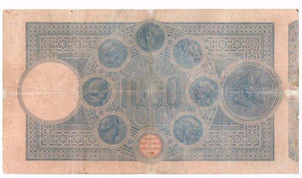 D/ BANCO DI SICILIA 1000 LIRE 22/06/1915 BIGLIETTO RESTAURATO MA ESTREMAMENTE RARO RRRR