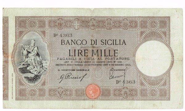 R/ BANCO DI SICILIA 1000 LIRE 22/06/1915 BIGLIETTO RESTAURATO MA ESTREMAMENTE RARO RRRR