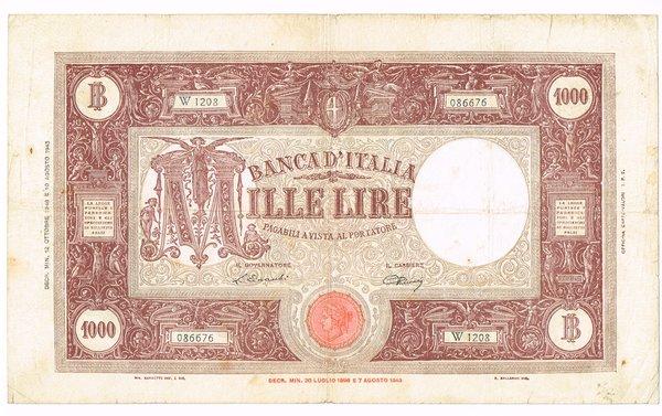 R/ REPUBBLICA ITALIANA 1000 LIRE GRANDE M 12/10/1946