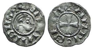 D/ Antioch, Bohemund III (Minority, 1149-1163). AR Denier (16mm, 0.88g, 12h). Young male head r. R/ Cross. Metcalf, Crusader 341. VF