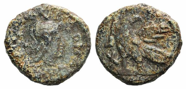 D/ Ostrogoths, Theoderic (493-526). Æ 40 Nummi (24mm, 9.05g, 12h). Rome. Helmeted and draped bust of Roma r. R/ Eagle standing l. on ground line, head r., with wings displayed; XL to left; •Δ• (?). COI 76b; MIB 74a; MEC 101. Fine