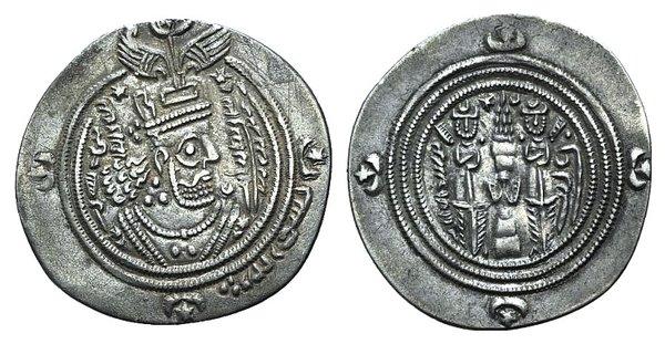 D/ Arab-Sasanian, Umayyad Caliphate, temp. Mu'awiya I ibn Abi Sufyan or Yazid I ibn Mu'awiya (AH 41-64 / AD 661-683). AR Drachm (29mm, 3.02g, 9h). Governor Ubayd Allah ibn Ziyad (674-683). al-Basra, AH 60 (679/80). Crowned Sasanian-style bust r. R/ Fire altar flanked by attendants. Album 12. Good VF