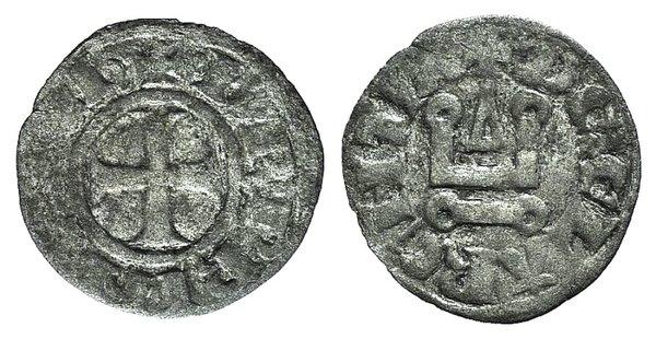 D/ Principality of Achaea. Charles I de Anjou (1278-1285). BI Denier (16mm, 0.64g, 3h). Corinth. Cross pattée. R/ Château tournois. Metcalf, Crusades 942-5. Good Fine
