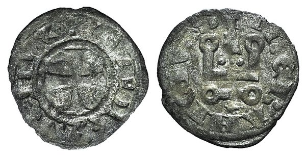 D/ Principality of Achaea. Gui II de La Roche (1287-1308). BI Denier (18mm, 0.74g, 3h). Thebes. Cross pattée. R/ Château tournois. Metcalf, Crusades 1059ff. Good Fine