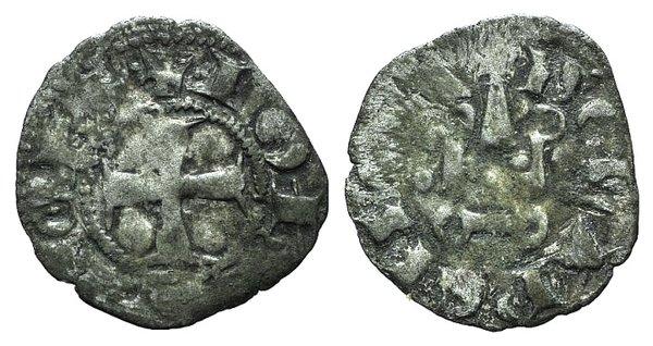 D/ Principality of Achaea. Giovanni di Gravina (1318-1333). BI Denier (18mm, 0.68g, 7h). Corinth. Cross pattée. R/ Château tournois. Malloy 58. Rare, Good Fine