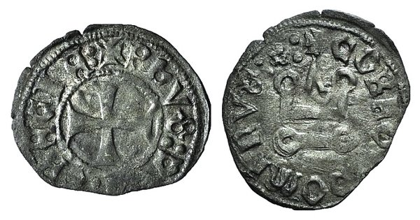 D/ Neopolitan Princes of Eprius and Corfu. Philippe de Savoy (1301-1307). BI Denier (18mm, 0.63g, 3h). Corfu. Cross pattée. R/ Château tournois. Schlumberger pl. XIII, 24. Rare, VF