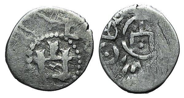 D/ Kaffa, Genoese colony, c. 15th century. AR Asper (15mm, 0.88g). Castle. R/ Tamga of the Golden Hoard, Islamic legend around. Ret.14. Near VF