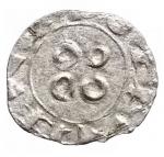 R/ Monete Estere - Francia. Melgueil. XII-XIII sec. Obolo. Mi.D/ Pilastro a forma di croce. R/ Quattro amuleti. B.753. Rob.4336. D.1578. Peso gr. 0.39. BB+.