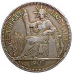 D/ Monete Estere - Indocina Francaise. 1 Piastre de Commerce 1907. Paris. BB+. Bella patina.