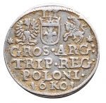 R/ Monete Estere - Polonia. Sigismondo III. Grosso da 3 sloti. Ag. Peso gr. 2,15. Diametro mm. 19,68. Bel BB+.