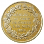 R/ Medaglie. Francia. Carlo X. Per la visita ai CHAMPS de ST. OMER dal 9 al 16 Settembre 1827. SPL.