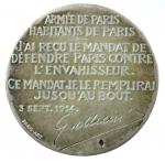 R/ Medaglie. Francia. 1916. Generale Gallieni. 1849-1916. Difesa della città di Parigi 3 settembre 1914. BB+.