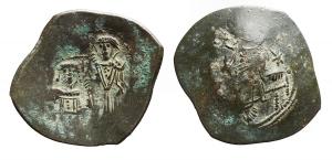 D/ Varie - Bulgaria. ca 1195-1204. Aspron Trachy Ae ad imitazione di Manuel I. BI. Peso gr. 3.06. BB-SPL. Patina verde.