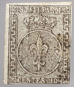 D/ Varie - Francobolli. Antichi Stati. Parma 1852. 10 CENTESIMI. Buone condizioni.
