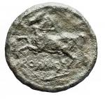 R/ Repubblica Romana -Serie anonima. 234-231 a.C.Litra. AE. D/ Testa di Apollo a destra.R/ Cavallo con briglie scalpitante a sinistra. Sotto ROMA.Cr. 26/3. Peso gr. 3,12. Diametro mm. 15.56. MB-BB. Patina verde. Porosita'.