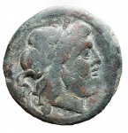 D/ Repubblica Romana -Serie sestantale. dopo il 211 a.C.Semisse. AE. D/ Testa di Saturno a destra.R/ Prua a destra.Cr. 56/3. Peso gr. 16,40. qBB.