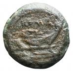 R/ Repubblica Romana - Dopo il 211 a.C.Quadrante. AE. D/ Testa di Ercole a destra. R/ Prua a destra. Sopra ROMA. Peso gr. 9,07. BB.