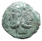 D/ Repubblica Romana -Serie 'stella'. 169-158 a.C.Asse. AE. D/ Testa laureata di Giano.R/ Prua a destra, Sopra stella.Cr. 196/1. Peso gr. 18,12. qBB. Patina verde.