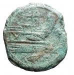 R/ Repubblica Romana -Serie 'stella'. 169-158 a.C.Asse. AE. D/ Testa laureata di Giano.R/ Prua a destra, Sopra stella.Cr. 196/1. Peso gr. 18,12. qBB. Patina verde.