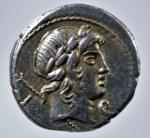 D/ Repubblica Romana. Gens Crepusia. P. Crepusius. 82 a.C. Denario. D/ Testa di Apollo verso destra. R/ Cavaliere romano che brandisce lancia verso destra. Cr.361/1.Peso 3,95 gr. Diametro 17,43 mm. SPL.