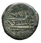 R/ Repubblica Romana -Gens Maenia. P. Maenius Antiaticus. M F. 132 a.C.Quadrante.AE.D/ Testa di Ercole a destra, dietrotre globetti.R/ Prua di nave a destra. Sotto ROMA. Sopra monogramma familiare. Davanti tre globetti.Cr.249\3.Pesogr. 6,55. Diametromm. 20,19.BB+/BB++. Bella patina verde.R.