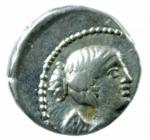 D/ Repubblica Romana. Gens Titia. Quintus Titius. 90 a.C. Quinario. D/ Busto della Vittoria verso destra. R/ Q.TITI (Quintus Titius) Pegaso in volo verso destra. Cr.341/3. Peso 2,15 gr. Diametro 15,38 mm. BB+.