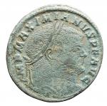 D/ Impero Romano - Massimiano Ercole. 286-310 d.C. Follis.AE. Aquileia. D/ Testa laureata a destra. R/ Moneta stante a sinistra, con bilancia e cornucopia, in esergo AQP. RIC VI, Paolucci 37. Peso gr. 8,11. Diametro mm. 26,37. BB+. Patina verde.