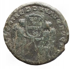 R/ Impero Romano -Magnenzio. 350-353 d.C.AE. R/ VICTORIAE DD NN AVG ET CAES. Due Vittorie tengono corona con iscrizione VOT / V / MVLT / X. Peso gr. 5,29. Diametro mm. 21,6. MB/qBB. Patina verde.
