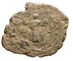 R/ Bizantini- Sigillo in Piombo. D/ Busto frontale. R/ Tre figure in piedi stanti.Pesogr 18,3. Diametromm max 34,6. Patina.R.
