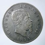 D/ Casa Savoia. Vittorio Emanuele II. 1861-1878. 5 lire 1874, AG. M. Pag. 498. Mont. 182. BB.