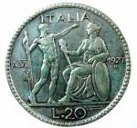 D/ Casa Savoia. Vittorio Emanuele III. 20 Lire 1927. Ag. Pagani 672. BB+. NC.