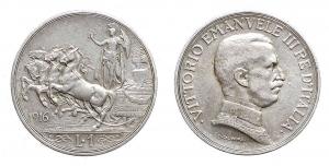 D/ Zecche Italiane - Vittorio Emanuele III. 1 Lira 1916. Ag. BB-SPL. R.