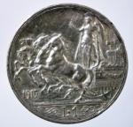 R/ Casa Savoia. Vittorio Emanuele III. 1 lira 1917 Quadriga briosa. Ag. Gig 139. SPL.