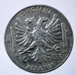 R/ Casa Savoia. Vittorio Emanuele III. Albania. 1939-1943. 10 lek 1939 A. XVII. AG. Pag. 991. BB+. R.