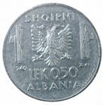 R/ Casa Savoia. Vittorio Emanuele III. Albania. 0,50 Lek 1940 anno XVIII. Magnetico. Ac. BB+/qSPL.