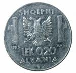 R/ Casa Savoia. Vittorio Emanuele III. Albania. 0,20 Lek 1939 anno XVIII. Antimagnetica. SPL