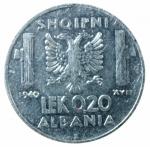 R/ Casa Savoia. Vittorio Emanuele III. Albania. 0,20 Lek 1940 anno XVIII. Magnetica. qSPL.