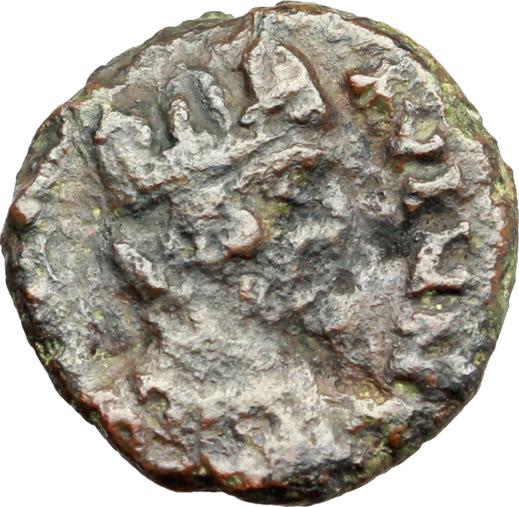 D/ Ostrogothic Italy.  AE Decanummium. Municipal bronze coinage of Ravenna, circa 536-554 AD. Obv. FELIX RAVENNA. Crowned bust of Ravenna right. Rev. Monogram of Ravenna. MEC 145-149. Ranieri 260-269. AE. g. 2.21  mm. 14.00  R.  About VF/VF.