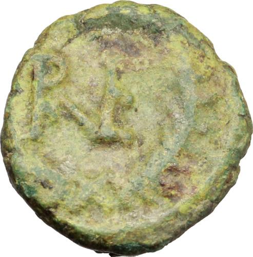 R/ Ostrogothic Italy.  AE Decanummium. Municipal bronze coinage of Ravenna, circa 536-554 AD. Obv. FELIX RAVENNA. Crowned bust of Ravenna right. Rev. Monogram of Ravenna. MEC 145-149. Ranieri 260-269. AE. g. 2.03  mm. 14.00  R. Untouched green patina. F/VF.