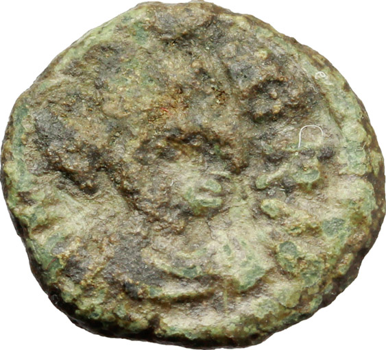D/ Phocas (602-610).  AE Decanummium, 608-609 AD. Ravenna mint. Obv. Diademed, draped and cuirassed bust right. Rev. Large X; X above, R–A across field and VEN in exergue. Ranieri 529. Sear 705. AE. g. 2.46  mm. 15.50  RRR. Very rare. Uncleaned deposits. VF.