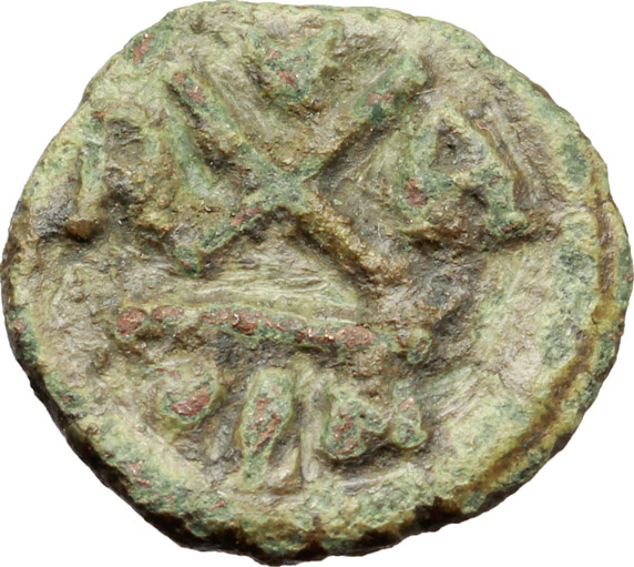 R/ Phocas (602-610).  AE Decanummium, 608-609 AD. Ravenna mint. Obv. Diademed, draped and cuirassed bust right. Rev. Large X; X above, R–A across field and VEN in exergue. Ranieri 529. Sear 705. AE. g. 2.46  mm. 15.50  RRR. Very rare. Uncleaned deposits. VF.