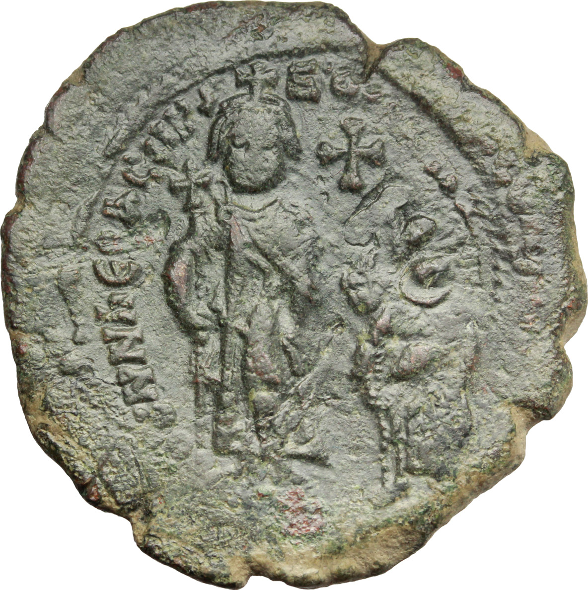 D/ Heraclius, with Heraclius Constantine (610-641).  AE Follis, Constantinople mint. Countermarked. Obv. dd NN hERACLIЧS ET hERA CONST PP A. Heraclius, on left, and Heraclius Constantine, on right, standing facing, each holding long cross; cross above. Rev. Large M; Christogram above, A/N/N/O- [...] across field; below, Γ; in exergue, CON. Sear 805. AE. g. 11.85  mm. 33.50   A nice example. Earthy green patina. Good VF.