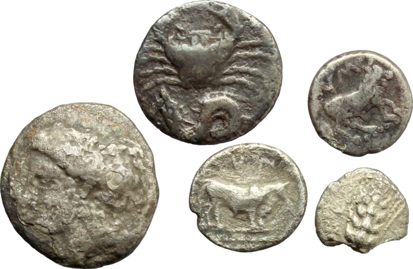 D/ Greek Italy and Greek Sicily.  Multiple lot of five (5) unclassified AR coins.    AR.      F:About VF.