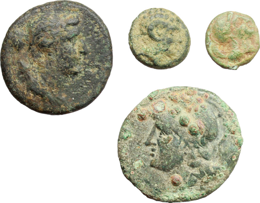 D/ Greek Italy.  Multiple lot of four (4) unclassified AE coins.    AE.      About VF:VF.