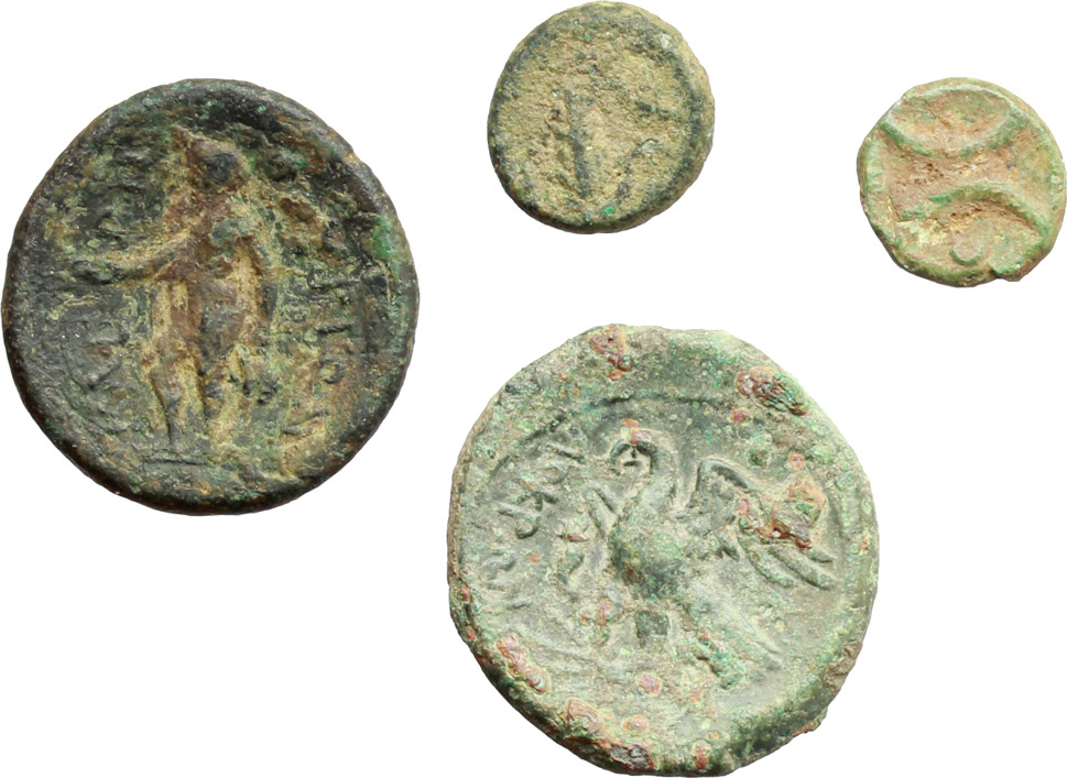R/ Greek Italy.  Multiple lot of four (4) unclassified AE coins.    AE.      About VF:VF.