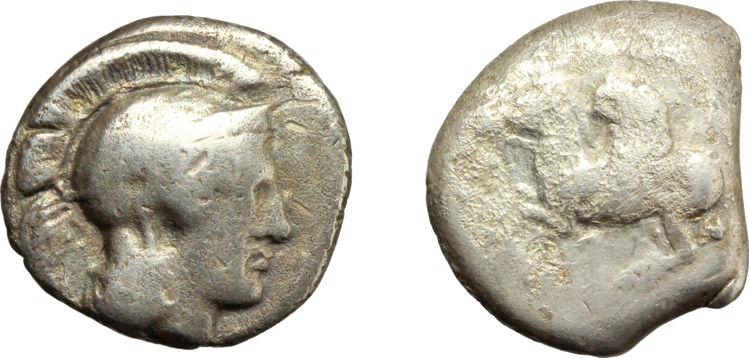 D/ Greek.  Multiple lot of two (2) unclassified AR coins. Thurium, AR Stater; Corinth, AR Stater.    AR.      F:About VF.